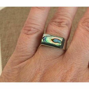 Vintage Iridescent Abalone Shell Silver Ring